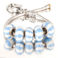 Bracelets - 5  pcs set blue stripes white color assorted bundle fit murano glass beads charms bracelets all brands Image.