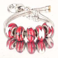 Bracelets - 5  pcs set white pieces red color assorted bundle fit murano glass beads charms bracelets all brands Image.