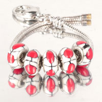 Bracelets - 5  pcs set red dot white color assorted bundle fit murano glass beads charms bracelets all brands Image.