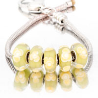 Bracelets - 5  pcs set yellow bundle clover fit murano glass beads charms bracelets all brands Image.