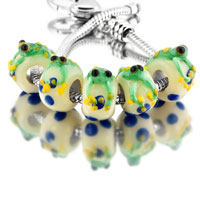 Charms Beads - green 5 pcs frog with yellow eyes slim sterling silver solid core beads charms bracelets fit all brands Image.