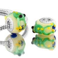 Sterling Silver Jewelry - green 2 pcs frog with yellow eyes slim sterling silver solid core beads charms bracelets fit all brands Image.