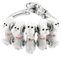 Bracelets - 5 pcs pink rabbit animal euro murano glass beads charms bracelets fit all brands Image.