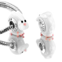 Bracelets - 2 pcs pink rabbit animal euro murano glass beads charms bracelets fit all brands Image.
