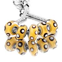 Bracelets - 5  pcs set white dot yellow color assorted bundle fit murano glass beads charms bracelets all brands Image.