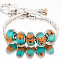 Bracelets - 5  pcs set black block color assorted murano glass bundle fit beads charms bracelets all brands Image.