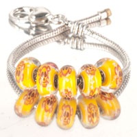 Bracelets - 5  pcs set skull on topaz yellow color assorted bundle fit murano glass beads charms bracelets all brands Image.