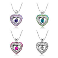 New Year Deals - heart pendant necklace swarovski elements crystal dangle round 4  colors Image.