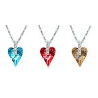 New Year Deals - wild heart pendant necklace for women swarovski elements crystal 3  colors Image.