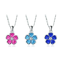 Necklace & Pendants - heart shape petal flower pendant necklace for women swarovski elements 3  colors Image.