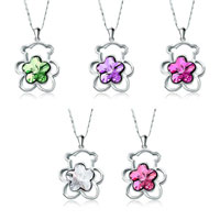 Necklace & Pendants - teddy bear heart love swarovski crystal flower pendant necklace for women 5  colors Image.