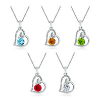 New Year Deals - open heart crystal clear swarovski elements crystal pendant necklace for women 5  colors Image.