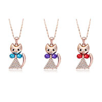 New Year Deals - rose gold tone cat swarovski elemens crystal pendant necklace 3  colors Image.