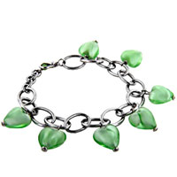 Bracelets - baby green heart off shoulder bead bracelets murano glass Image.
