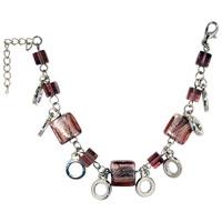 Bracelets - handmade purple square murano glass bracelets Image.