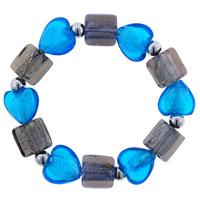 Murano Glass Jewelry - blue heart and gray square murano glass beads bracelet Image.