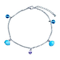 Bracelets - dangle shell crystal charm ankle bracelet anklet lobster clasp Image.