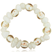 Bracelets - white and gold speckled murano glass bracelet Image.