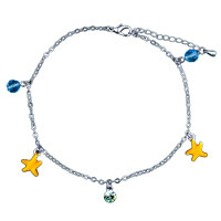 Theme Jewelry - starfish dangle crystals anklet lobster clasp seasonal jewelry bracelet Image.