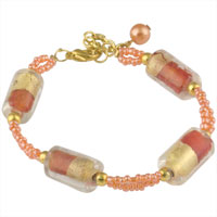Bracelets - simple pearl dangle golden orange crystal lobster clasp bracelet Image.