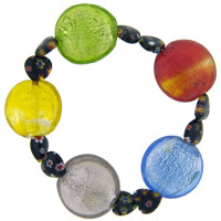 Bracelets - murano glass heart millefiori multi color bracelet Image.