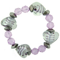 Bracelets - heart pink gift mother beads murano glass bracelet Image.