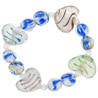 Bracelets - handmade murano glass blue and heart charm bracelet Image.