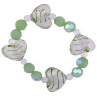 Bracelets - heart green gift bead bracelets murano glass Image.