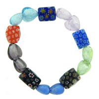 Bracelets - heart millefiori multi color scoop murano glass bracelet Image.