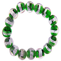 Bracelets - round pink and green beads murano glass bracelet Image.