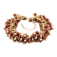 Bracelets - bling jewelry brown pearls party ball chunky fashion bracelets Image.