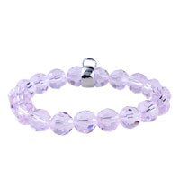 Sterling Silver Jewelry - fastener pink quartz bracelet chip stone Image.
