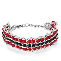 Man's Jewelry - chain 3  row black red little plastic cement beads bracelet Image.
