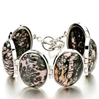 New Year Deals - classic oval black pink stone bracelets Image.