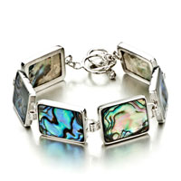 Bracelets - color swirl pattern rectangle shell bracelets Image.