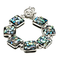 New Year Deals - fashion summer' s color turquoise square pattern shell bracelets Image.