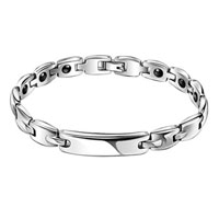 Man's Jewelry - link bangle men' s silver plated bangle bracelet Image.