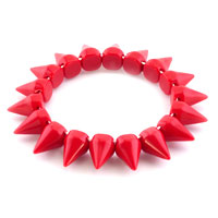 New Year Deals - garnet red elastic rock punk rivet studs spike bangle charm stretch bracelet Image.