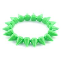 New Year Deals - peridot green elastic rock punk rivet studs spike bangle charm stretch bracelet Image.