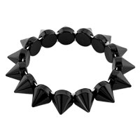 New Year Deals - classic black elastic rock punk rivet studs spike bangle charm stretch bracelet Image.