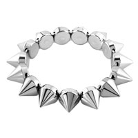 Bracelets - silver tone elastic rock punk rivet studs spike bangle charm stretch bracelet Image.