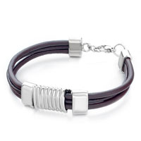 Man's Jewelry - mothers day gifts triple dark brown leather silver metal spring bracelet Image.