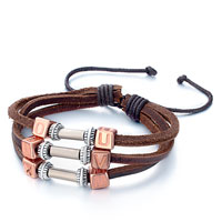 Bracelets - triple dark brown leather metal round copper cube different letters bracelet Image.
