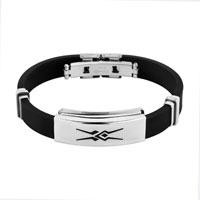 Bracelets - men bangle bracelet cuff stainless steel black silicone rubber Image.