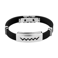 Bracelets - new men bangle bracelet cuff stainless steel black silicone rubber Image.