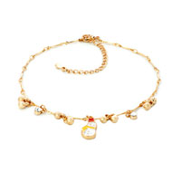 Bracelets - 18 k gold plated heart love dangle ankle bracelet anklet lobster clasp made with swarovski elements Image.