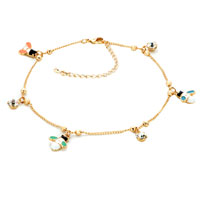 Bracelets - 18 k gold plated dangle ankle bracelet anklet lobster clasp made with swarovski elements Image.