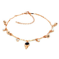 Bracelets - 18 k gold plated dangle black crystal ankle bracelet lobster clasp Image.