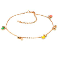 Bracelets - lovely 18 k gold plated dangle clear crystal anklet adjustable bracelet Image.