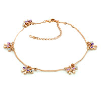Theme Jewelry - 18 k gold plated flowers clover dangle ankle bracelet anklet lobster clasp made with swarovski elements Image.